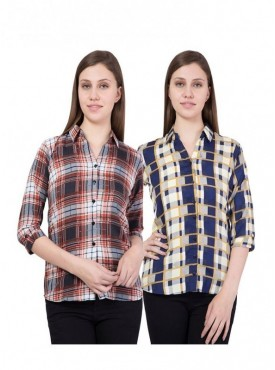 American-Elm Women 3/4th Sleeves Pack of 2 Shirts