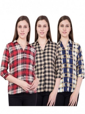 American-Elm Women Red,Yellow and Blue Pack of 3 Shirts