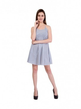 American-Elm Women Grey Solid Sleeveless Dress