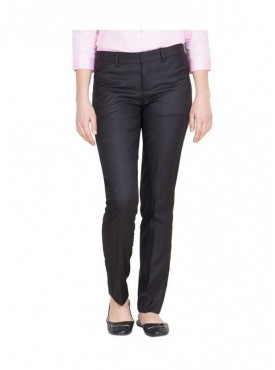 Tiger Grid Women Black Cotton Rayon Formal Trouser