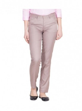 Tiger Grid Light Brown Cotton Rayon Officewear Trouser for Women