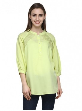 Abarass Creations 100% Polyester(Poly Crepe) Top Yellow