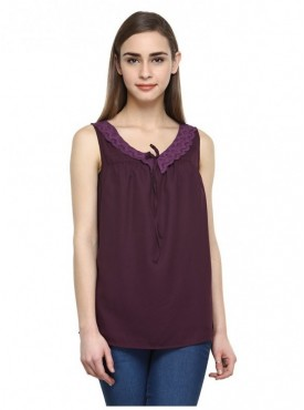Abarass Creations 100% Polyester(Poly Crepe) Top Brown