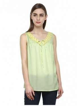 Abarass Creations 100% Polyester(Poly Crepe) Top Light Yellow