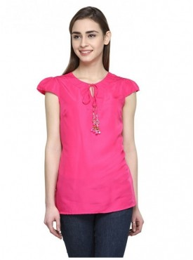 Abarass Creations 100% Polyester(Poly Crepe) Top Pink