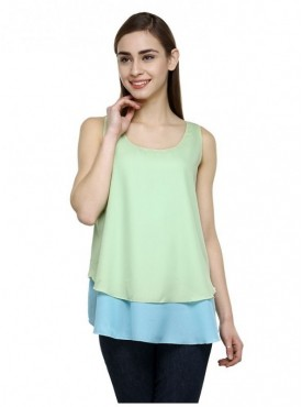 Abarass Creations 100% Polyester(Poly Crepe) Top Light Greeen