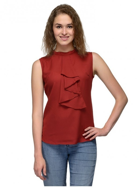 Abarass Creations 100% Polyester(Poly Crepe) Top Maroon
