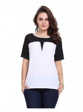 Abarass Creations 100% Polyester(Poly Crepe) Top White