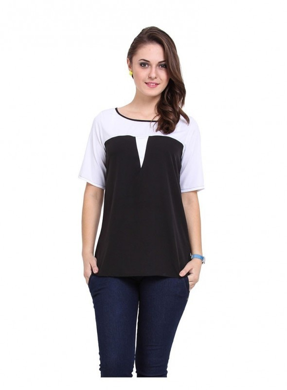 Abarass Creations 100% Polyester(Poly Crepe) Top Black