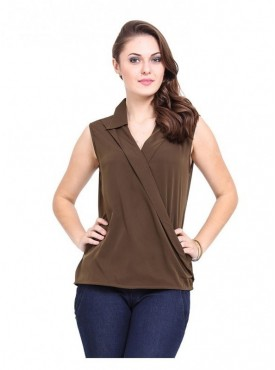 Abarass Creations 100% Polyester(Poly Crepe) Top Dark Brown