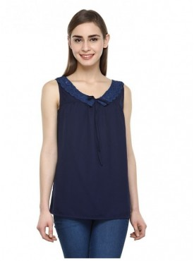 Abarass Creations 100% Polyester(Poly Crepe) Top Navy Blue