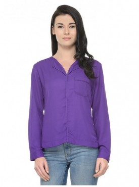 Abarass Creations 100% Polyester(Poly Crepe) Top Purple