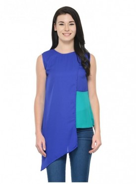 Abarass Creations 100% Polyester(Poly Crepe) Top Blue