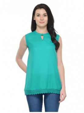 Abarass Creations 100% Polyester(Poly Crepe) Top Turquoise