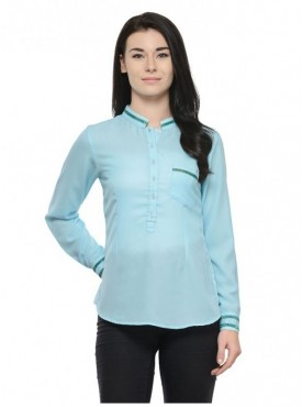 Abarass Creations 100% Polyester(Poly Crepe) Top Light Turuoise