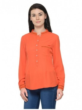 Abarass Creations 100% Polyester(Poly Crepe) Top Orange