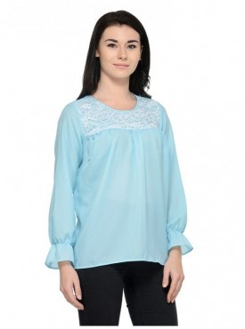 Abarass Creations 100% Polyester(Poly Crepe) Top Light Turquoise