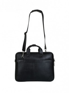 American-Elm Black Solid Leather Laptop Bag