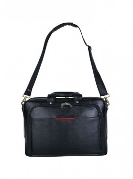 American-Elm Black Leather 3 Compartments Laptop Bag