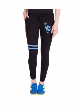 American-Elm Black Cotton Printed Track Pant for Women
