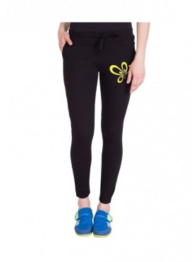 American-Elm Women Black Cotton Printed Jogger