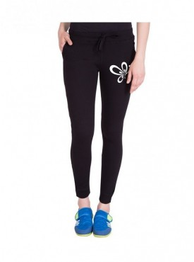 American-Elm Women Slim Fit Black Printed Cotton Track Pant