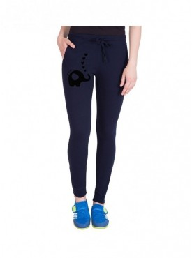 American-Elm Women Blue Cotton Slim Fit Track Pant