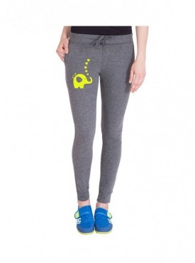 American-Elm Dark Grey Cotton Printed Women Track Pant