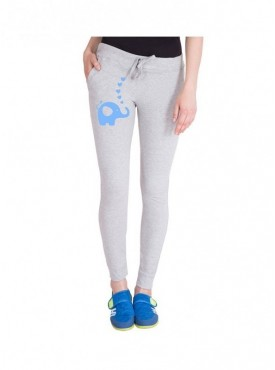 American-Elm Light Grey Elephant Printed Women Cotton Track Pant