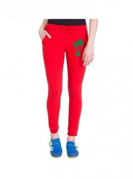 American-Elm Women Slim Fit Red Printed Cotton Jogger