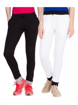 American-Elm Pack of 2 Women Cotton Track Pants-Black, White