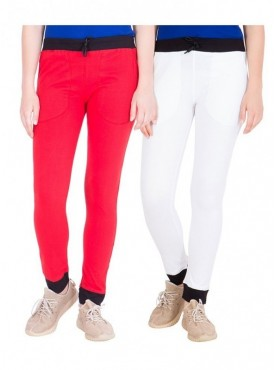 American-Elm Pack of 2 Women Cotton Track Pants-Red, White