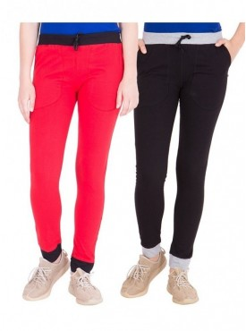 American-Elm Pack of 2 Women Cotton Track Pants-Red, Black