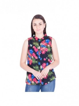 American-Elm Pink Printed Top For Women