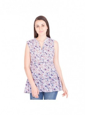 American-Elm Dark Blue Printed Top For Women