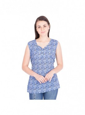 American-Elm Nevy Blue Printed V-Neck Top For Women