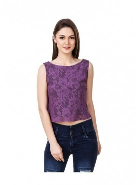 American-Elm Floral Print Purple Coloured Sleeveless Women Top