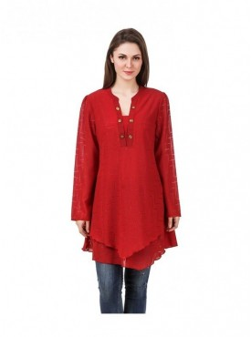 American-Elm Red Coloured Women Tunic
