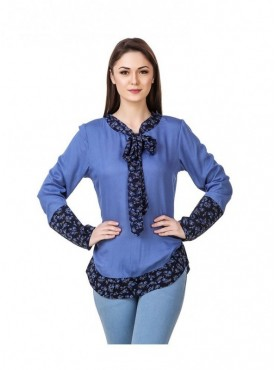 American-Elm Blue Coloured Full Sleeve Women Tunic