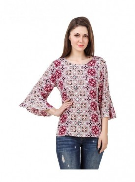 American-Elm Multi Coloured Half Sleeve Women Tunic