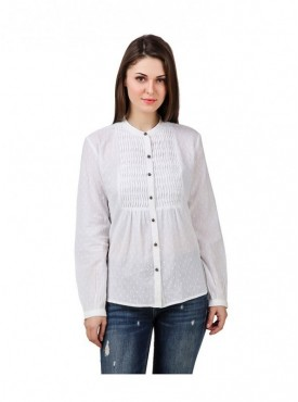 American-Elm White Coloured Full Sleeve Women Tunic