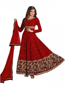 Viva N Diva Red Colored Georgette Salwar suit.