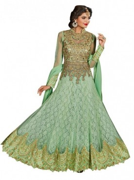 Viva N Diva Light Green Colored Net jacaquard Salwar suit.