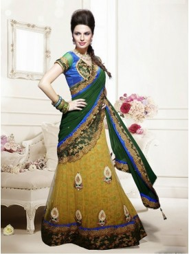 Mahotsav Green Yellow Color Lehenga Saree