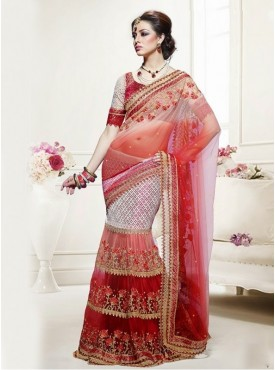 Mahotsav Shaded Red Cream Color Lehenga Saree