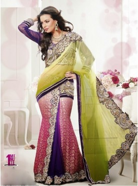 Mahotsav Shaded Mahendi Green Shaded Pink Color Lehenga Saree