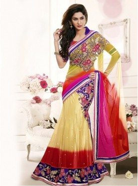 Mahotsav Shaded Mahendi Green Red Pink Cream Color Lehenga Saree