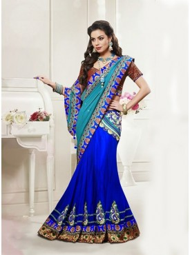 Mahotsav Sky blue Dark Blue Color Lehenga Saree