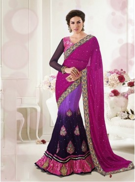 Mahotsav Pink Shaded Violet Color Lehenga Saree
