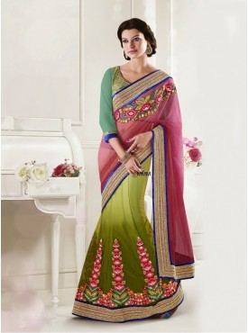 Mahotsav Shaded Pink Mehendi Green Color Lehenga Saree